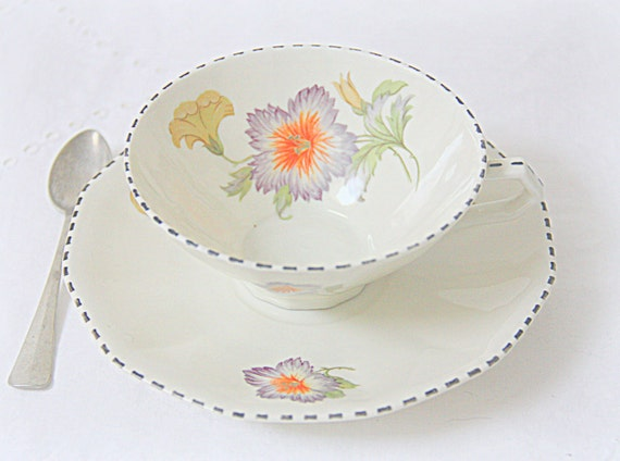 Vintage Dutch Mosa Maastricht Porcelain Teacup and Saucer, Flower Decor