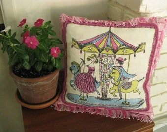 Cushion Cover~~Fringed Carousel Pillow Cover~~Vintage Swedish Cloth Turned OOAK Pillow~Handmade Pillow