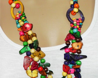 Multicoloured bead chunky necklace huge beaded necklace colourful necklace,mixed colour jewellery,colorful necklace