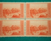 Unused Vintage Postage Stamps Grand Canyon Scott #741 Block of Four