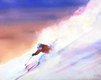 Ski Like A Girl- Original Watercolor Painting, 22 x 30 inches