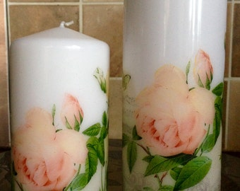 Set of two scented tall pillar candle, Decorated Candle, Personalized Candle, Gift