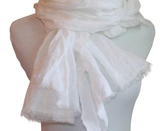 Minimalist White Linen Scarf / Spring Scarf / Summer Scarf / Women's Scarf / Linen Scarf / White Scarf /