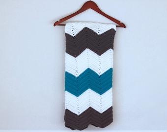 Crochet Baby Blanket- Crib Size- Turquoise, White, & Gray
