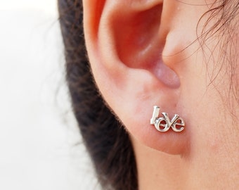 Love Word Stud, Love Earrings, 925 Sterling Silver, Everyday Jewelry Gift, Gift for her - SB38