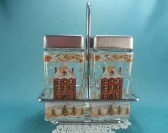 Vintage Glass Hand Painted Christmas Salt and Pepper Shakers, Christmas Tree Salt Pepper Shakers, Snowflakes SP, House S&P, 3 pc shaker set