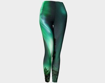 Womens Printed Leggings Northern Lights - Through the Trees