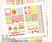 Strawberry planner stickers,printable  stickers for use with Erin Condren planner,spring stickers,April fruit stickers,weekly kit,cut lines