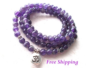 108 Amethyst Mala Beads Necklace, Buddhist Prayer Beads, Om Necklace, Yoga Jewelry - Healing & Protection