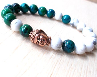 Chrysocolla Bracelet, Mens Buddha Bracelet, Yoga Beads, Buddhist Jewelry, Meditation Bracelet, White Howlite Bracelet, Calming Bracelet