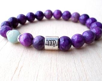 Virgo Bracelet, Virgo Jewelry, Virgo Zodiac Sign Jewelry, Astrology Gifts, Natural Stone Bracelet, Amazonite, Sugilite