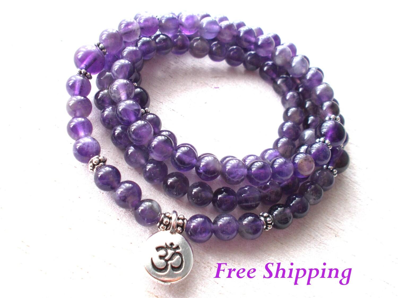 108 Amethyst Mala Beads Necklace Buddhist Prayer Beads Om
