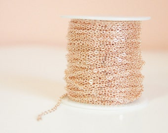 Cross Cable Chain, Rose Gold, 2.6mmx2mm. 3m, Brass, Lead & nickel free.