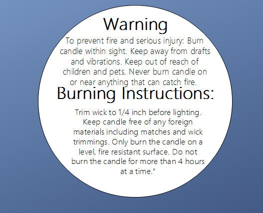 100 caution candle labels candle warning burn directions. Black Bedroom Furniture Sets. Home Design Ideas