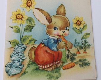 Vintage Peter Rabbit Unused Get Well Card with Story Tale Insert, Kids Children Card for Sick ill Friend, 50s 1950s Card