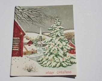 Vintage Christmas Tree Glitter Card, Unused Christmas Card, 1950s 50s old Christmas Card
