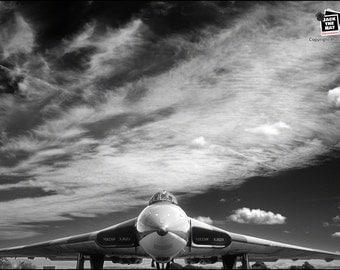 RAF Vulcan XJ823 under Magnificent Sky  - Premium Photograph by Pro Photographer. Decorative Wall Art Print. Avro Bomber Plane.