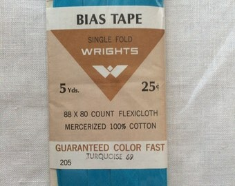 """Vintage 1969 New Turquoise Blue Single Fold Bias Tape Trim in Package 1/2"""" wide x 5 yards long by Wrights"""