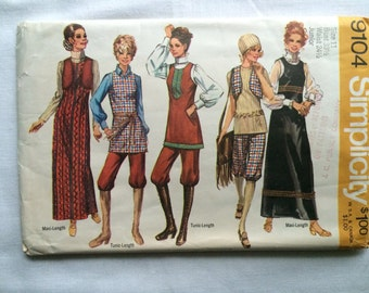 Vintage 1970 Simplicity 9104 Misses & Juniors Size 11 Bust 33-1/2 Waist 24-1/2 Maxi-Jumper or Tunic, Vest and Hip-Hugger Knickers Pattern