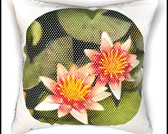 "Lotus Flower Throw Pillow Cover, Polka-Dot Textured Fabric, 18""x18"", Lotus Pillow, Flower Pillow"