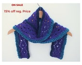 Purple hand knitted scarf , lace pattern ,fiber, textile accessories, made in USA, crochet, shawl, wrap, skinny scarf, stole, lilac, purple