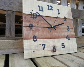 Handmade  Wood Clock - reclaimed pallet wood - Farmhouse Style  shabby chic, home decor, gift idea, square clock