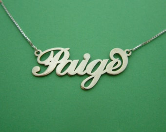 Carrie Style Name Necklace / Paige / Any Name / Name Necklace / Name Necklaces Silver/ Personalized Necklace / Girls Nameplate Necklace