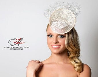 Wedding bridal Fascinator, bridal mini hat, white Melbourne cup hat, Royal Ascot lace hat, Wedding quest hat with veil. AA