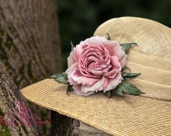Silk Flower Corsage, silk rose brooch, pink silk rose, hat accessories, dress or hair accessories. Handmade silk flowers. AU