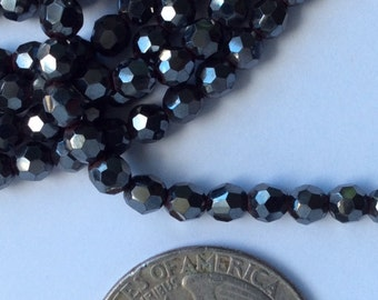 """Natural Hematite  faceted 4mm beads - 16"""""""