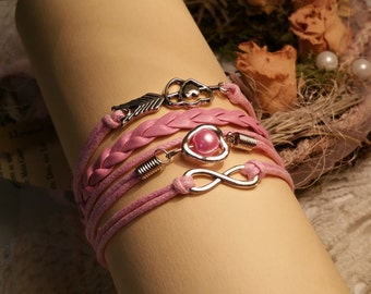 Rosanes leather bracelet double heart CA110