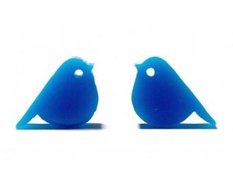 Blue Finch Stud Earrings // Finch Stud Earrings / Finch Studs / Finch Earrings / Blue Bird Earrings / Blue Bird Studs / Bird Stud Earrings