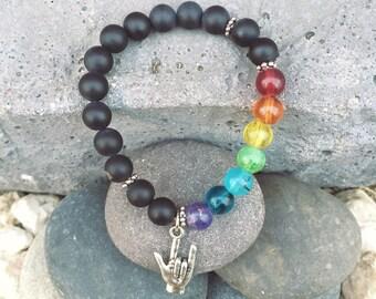 ASL I Love You Chakra Bracelet