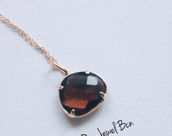 Brown Faceted Triangle Glass. Elegant and simple Gold Plated Silver Necklace. Fantasy Necklace .