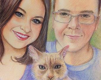 Custom portraits, Family Portrait, art, artwork, drawing, gift, pet portrait,   12*16 portrait, portrait from photo