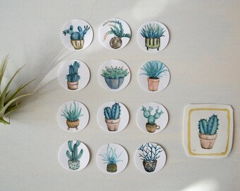 Cacti & Succulents Sticker - Set of 12