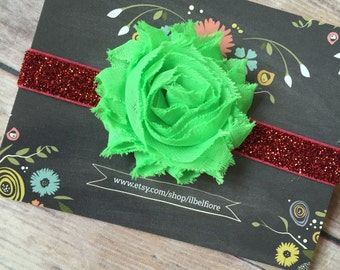 3-6 Month Headband, Red And Green Shabby Flower Headband, Shabby Flower Headband, Baby Infant Headband, Flower Headband, Baby Headband