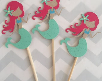 Mermaid party cupcake toppers, set of 24