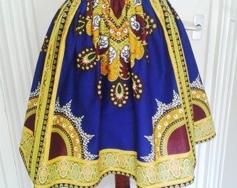 Samantha Cobalt and Gold Multi African Wax High Waist Dirndl Skirt - Made to Order
