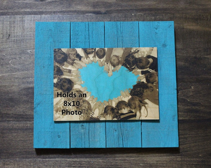 Personalized Reclaimed Wood Photo Plank Display, 8x10 photo