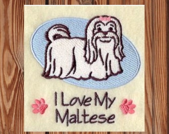 I Love My Maltese Towel- Maltese Dog Towel- Dog Tea Towel- I Love Dogs- Dog Towel- Dog Embroidery- Gift for the Dog Lover- Custom Embroidery