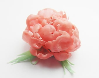 Ring peony jewelry flower realistic drop