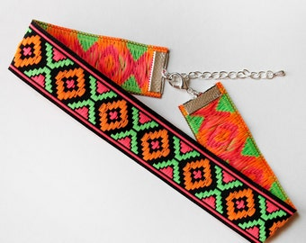 Neon Aztec Choker Necklace