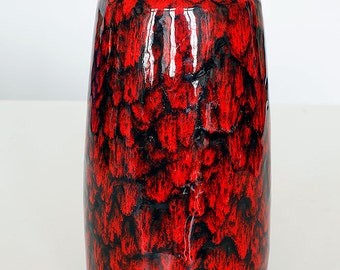 Shinny red and black glazed vase 203-26 made by Scheurich, West German Pottery, 60'ties