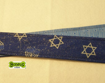 "Hanukkah Greyhound Martingale Collar 1.5"" Wide Fabric Lined"