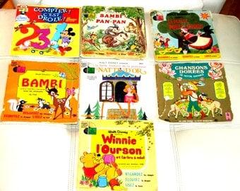 Lot of 7 Vintage french Walt Disney Golden Record 45 rpm Records Bambi Winnie Panpan Mickey Donald