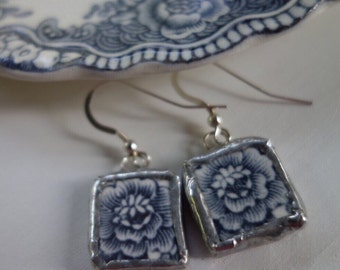 Broken china jewelry- broken china earrings- blue and white china earrings-blue flower earrings- something blue- gift for her