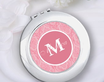 Personalized Pink Damask Compact Mirror & Velvet Pouch Bridesmaid Gift, Wedding Bridal Party Gift, Bachelorette Gift, Monogram Pocket Mirror
