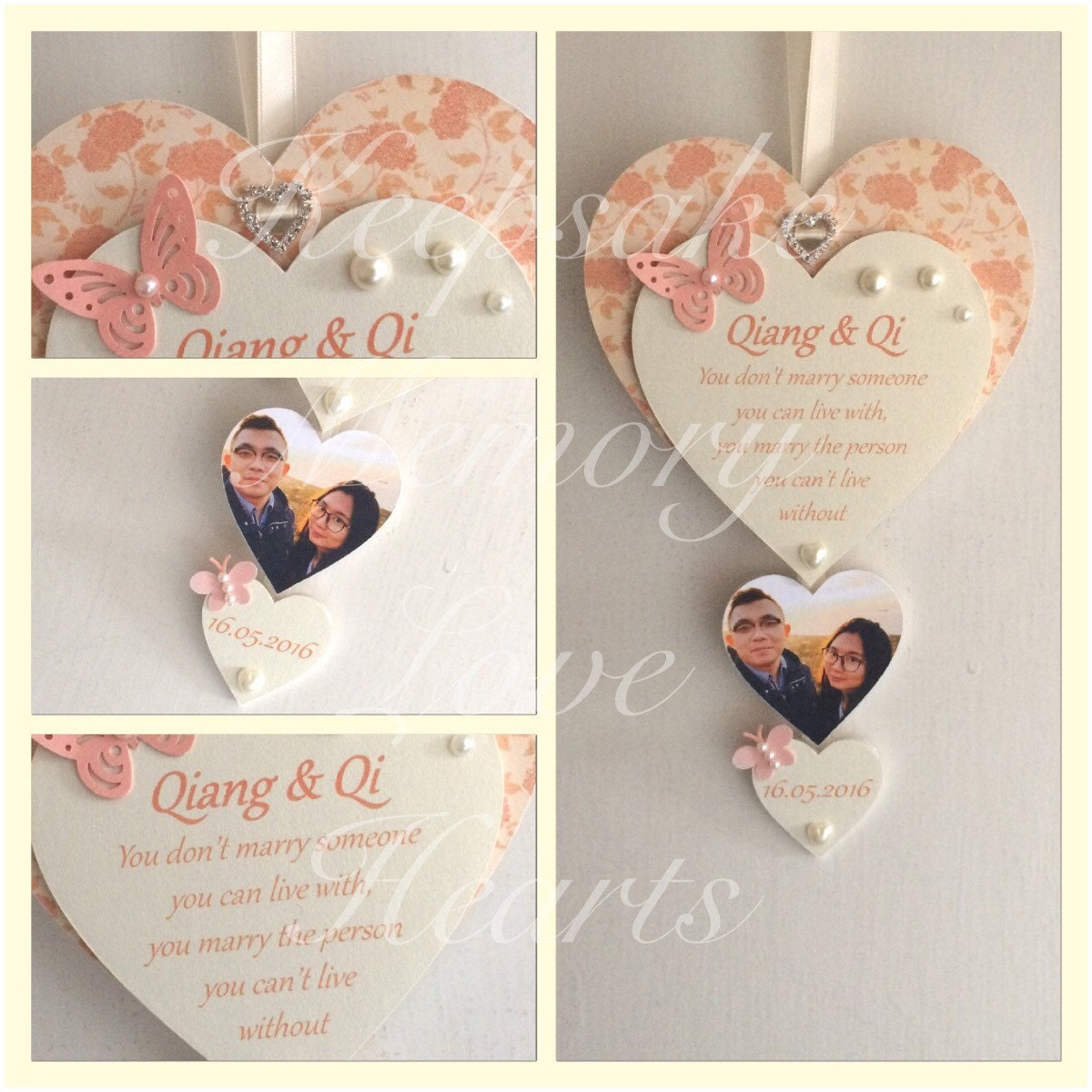 Wedding Gift For Couple Personalised Wooden By KeepsakeHearts