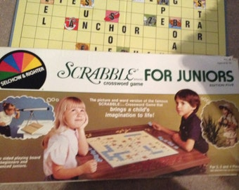 Vintage (c. 1982) Scrabble for Juniors board game Edition Five published by Selchow & Righter. Complete.